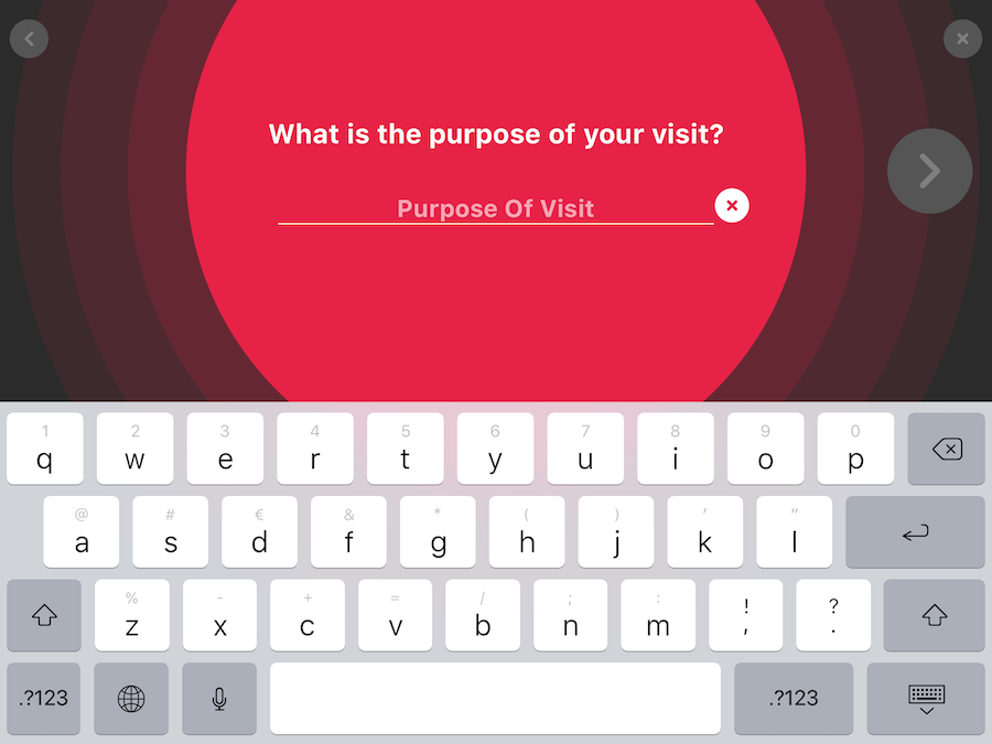 PPSK Kiosk ask question to visitor for purpose of visit