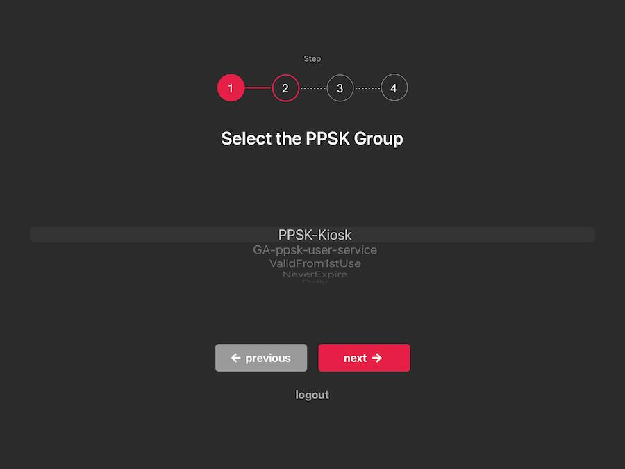 PPSK Kiosk iPad onboarding screen